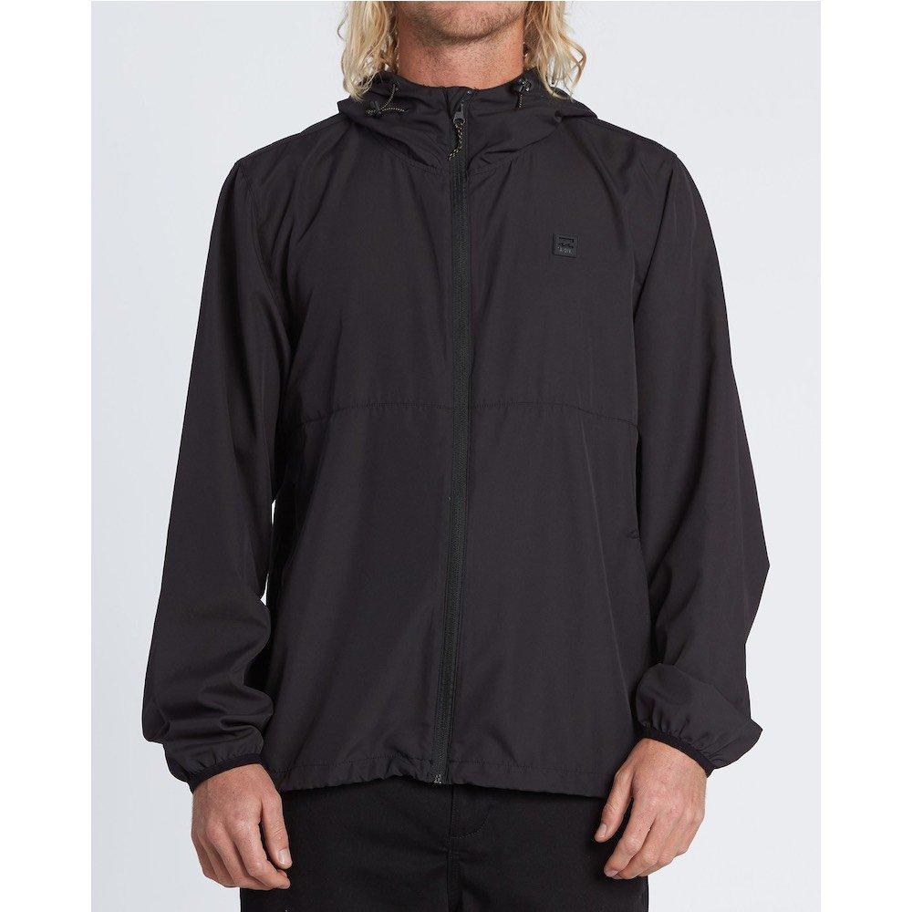 Billabong transport Windbreaker jacket. black deep teal turquoise blue zip up lightweight shell