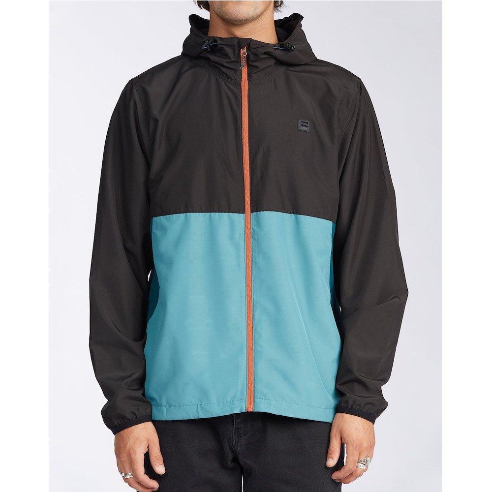 Billabong transport Windbreaker jacket. black deep teal turquoise blue lightweight shell