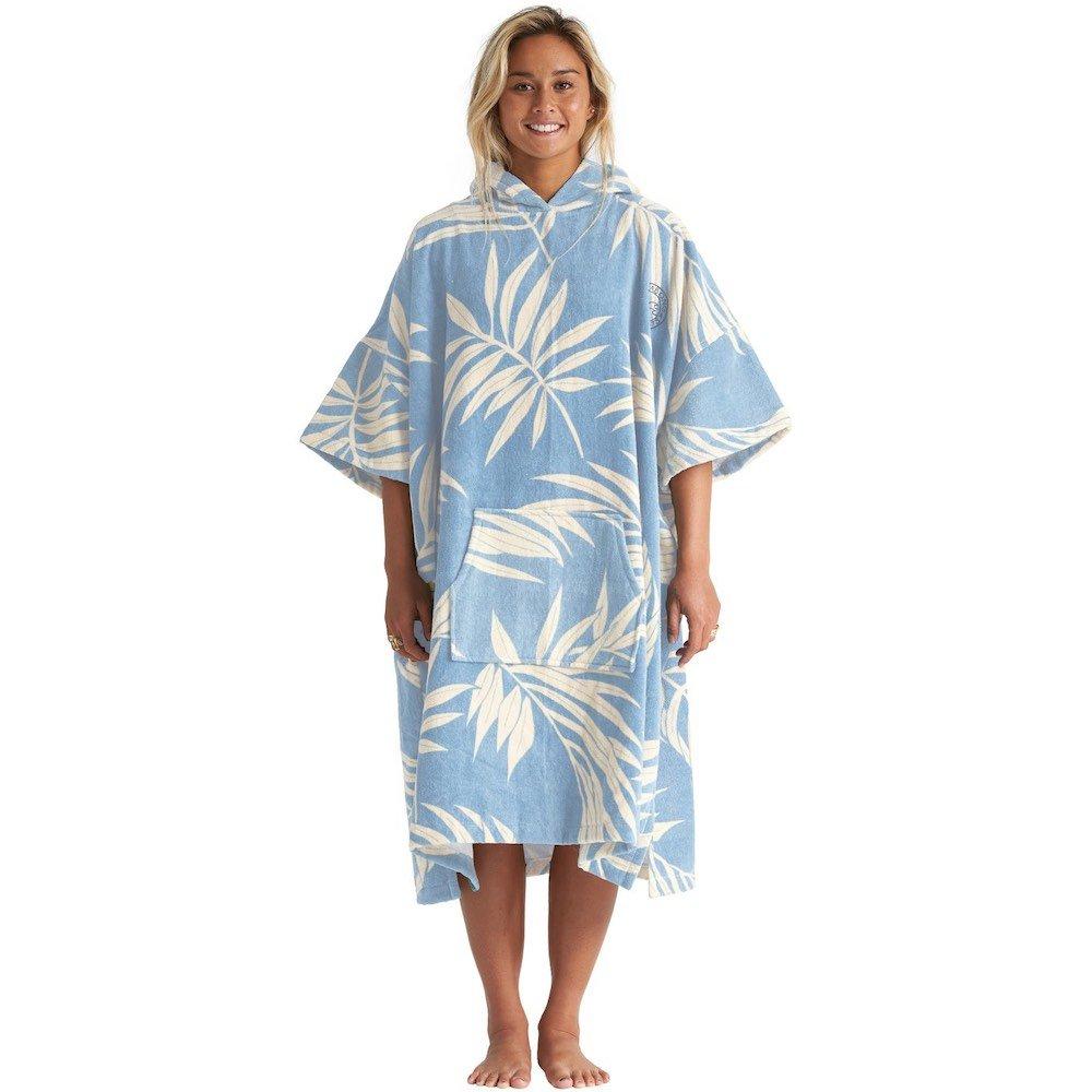 Billabong Womens Poncho Hooded Towel Robe Blue Palms warm changing robe beach towel