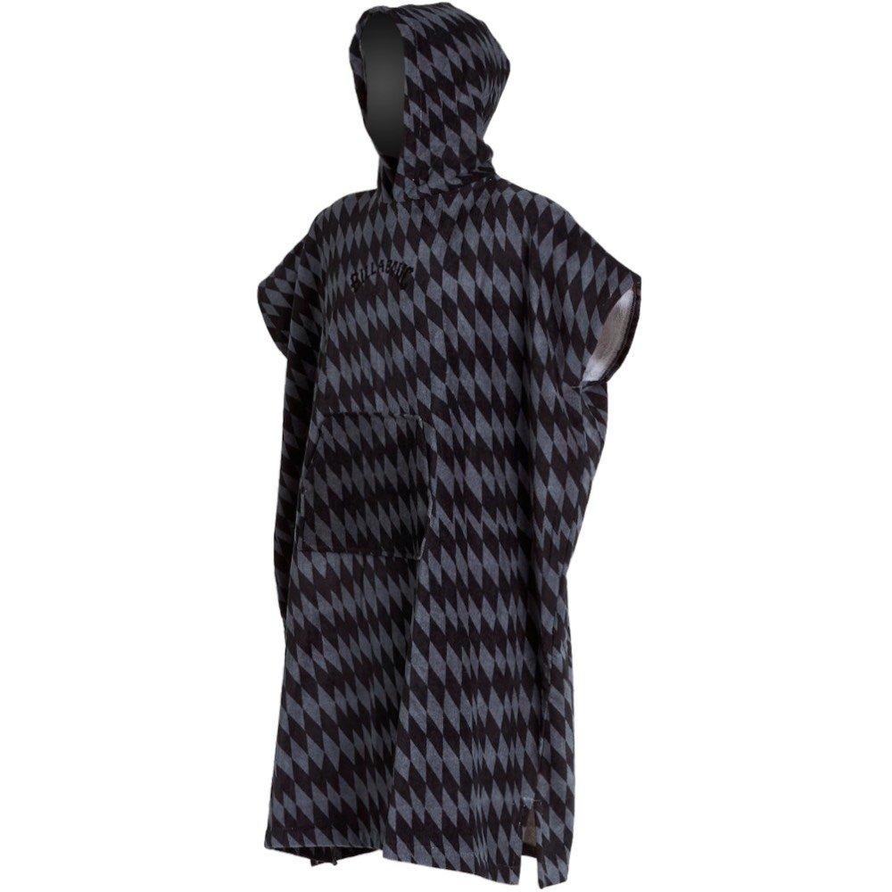 Billabong Grey Diamonds black pattern zig zag stripe hooded changing towel robe poncho pocket